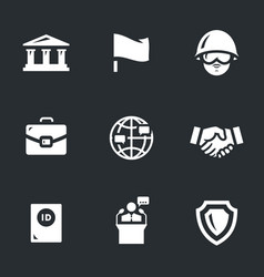 Set of embassy icons vector