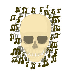 Skull with notes icon cartoon style vector