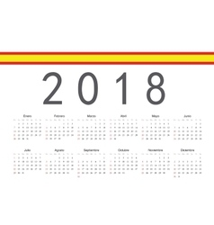 Spanish 2018 year calendar vector