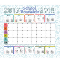 template school timetable vector image