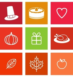 Thanksgiving day icons vector
