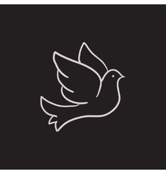 Wedding dove sketch icon vector image