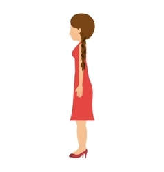 Woman standing dress left profiles hair tail vector