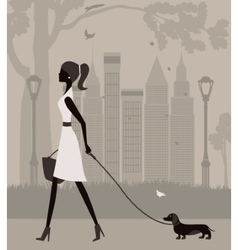 Woman walking with a dog vector
