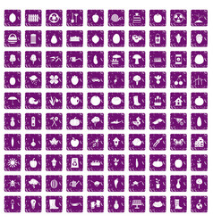 100 garden icons set grunge purple vector