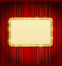 Golden frame with light bulbs vector