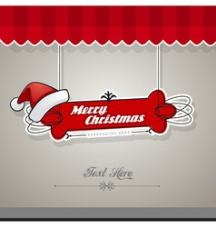 Christmas card with red hat vector image