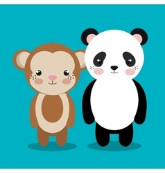 Cartoon animal monkey panda plush stuffed design vector
