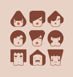 square faces vector image