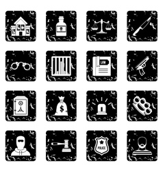 Crime and punishment icons set simple style vector