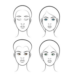 beautiful female face set vector image