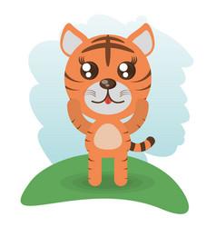 Cute tiger animal wildlife vector