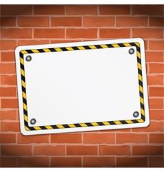 Blank banner on brick wall vector