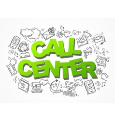 Call center sketch icons composition vector