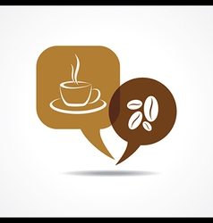 Coffee cup and beans in message bubble vector