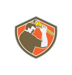 Plumber holding monkey wrench crest retro vector
