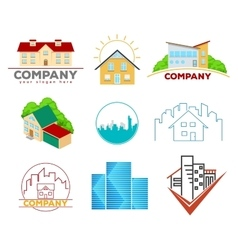 Real estate emblems and logos vector