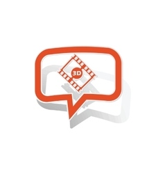 3d movie message sticker orange vector