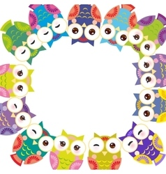 Funny colorful owls on white background card vector