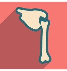 Flat icon with long shadow human bone vector