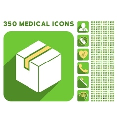 Package icon and medical longshadow icon set vector