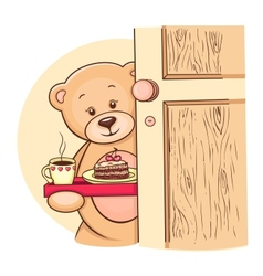 Teddy bear with breakfast vector