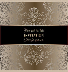 Baroque background with antique luxury beige brown vector