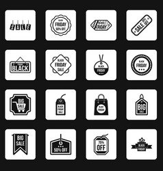 Black friday icons set squares vector