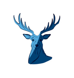 Blue free spirit deer animal bohemic design vector
