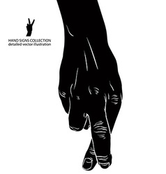 Cheater hand with crossed fingers detailed black vector image vector image