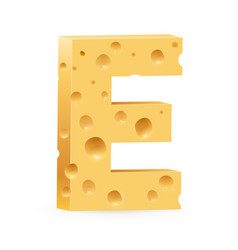 cheese font e letter on white vector image vector image