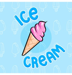 Cute colorful ice cream cone in hand drawn graphic vector image