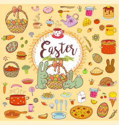 easter food doodles vector image