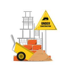 Flat under construction warning and cart with vector
