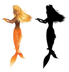 Gold fish tail mermaid vector