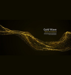 gold striped abstract wave on dark background vector image vector image