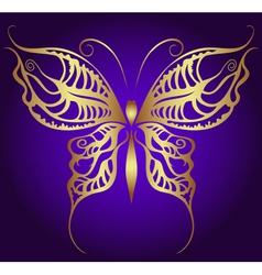 Golden butterfly on violet vector image