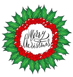 Greeting card with a Christmas wreaths and Merry vector image vector image