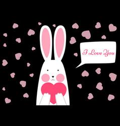 happy rabbit - valentene s day vector image vector image