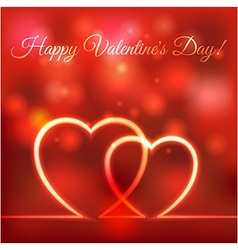 happy Valentines greeting card hearts red blurred vector image