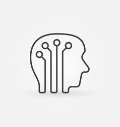 Human head with digital brain icon vector