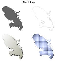 Martinique outline map set vector
