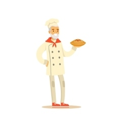Old man professional cooking chef working in vector