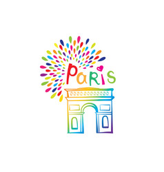 Paris sign triumph arch french famous landmark vector