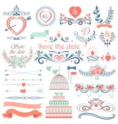 Romantic hand drawn wedding graphic set of vector