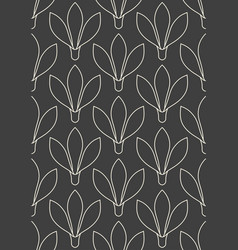 Seamless linear flower pattern on grey background vector