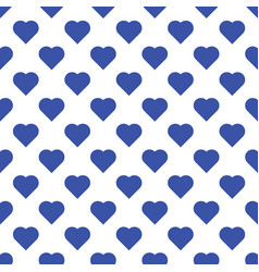 seamless pattern of big blue hearts on white vector image vector image