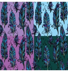 Seamless pattern with ornamental feather tribal vector