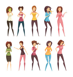 sickness woman retro cartoon icon set vector image