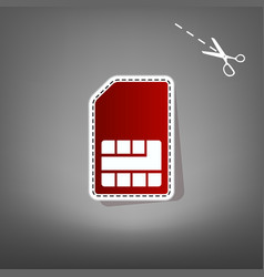 Sim card sign red icon with for applique vector